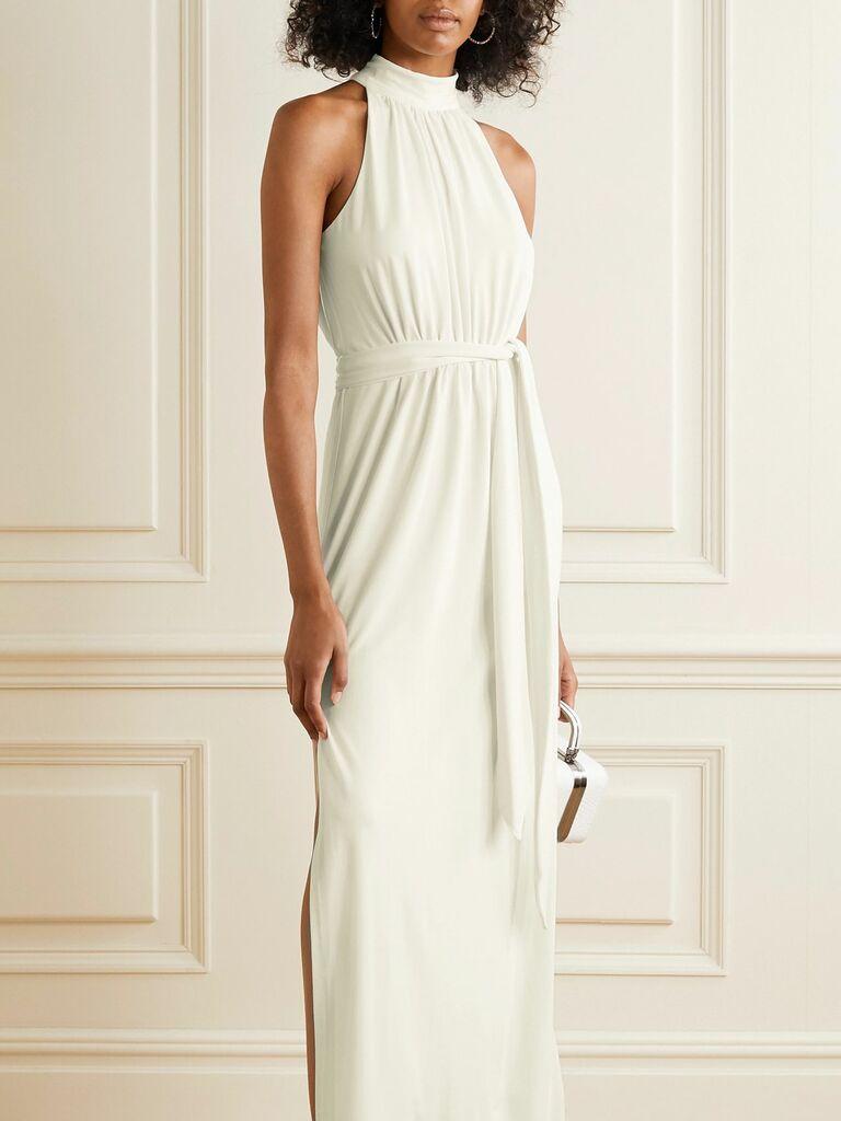 Ivory high neckline second marriage wedding dress