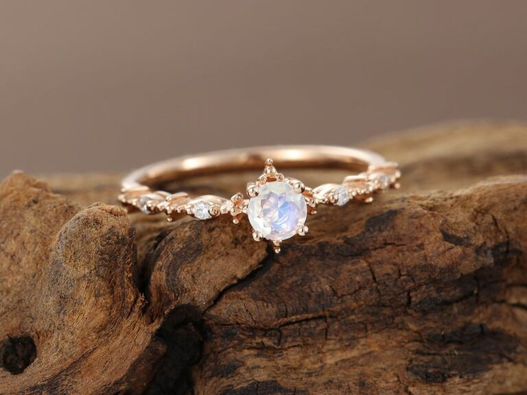 JewelringDesign moonstone diamond engagement ring in 14K yellow gold
