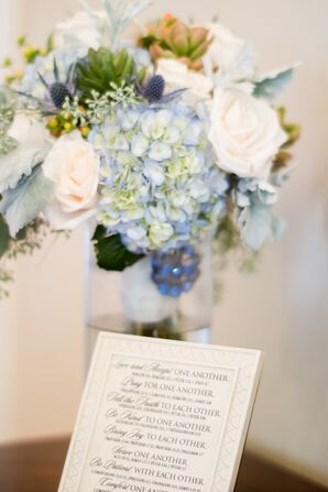 Light Blue and Ivory with Succulents Bouquet