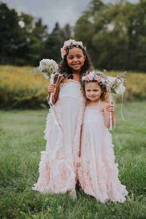 Ruffled Light Pink Flower Girl Dresses