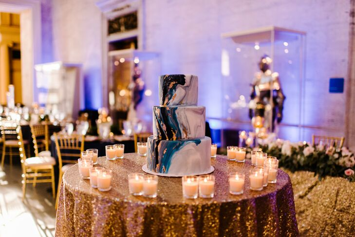 Sequined Table with Candles and Modern Marbled Wedding Cake