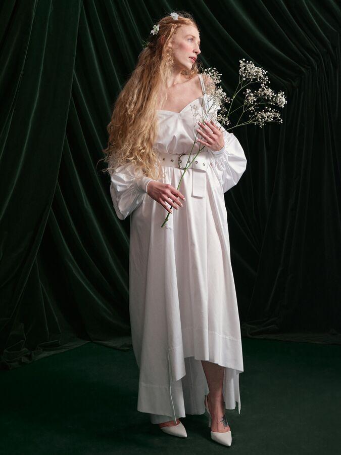 Wiederhoeft high-low cotton sateen shirt dress