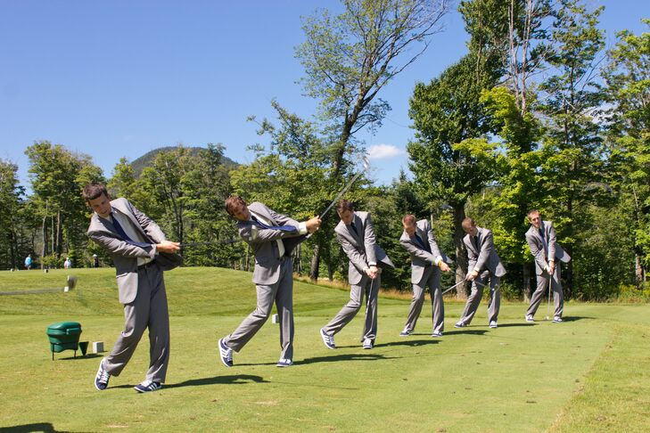 The groomsmen look was very casual--light gray suits with navy ties and navy Adidas, Erik's favorite shoe.