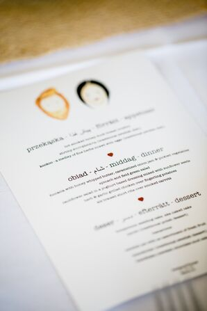 DIY Menus with Drawing of Bride and Groom