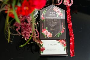 Art Deco-Inspired Invitation with Red Floral Illustration