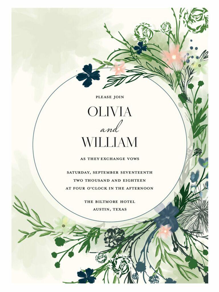 Mixbook rustic floral spring wedding invitation