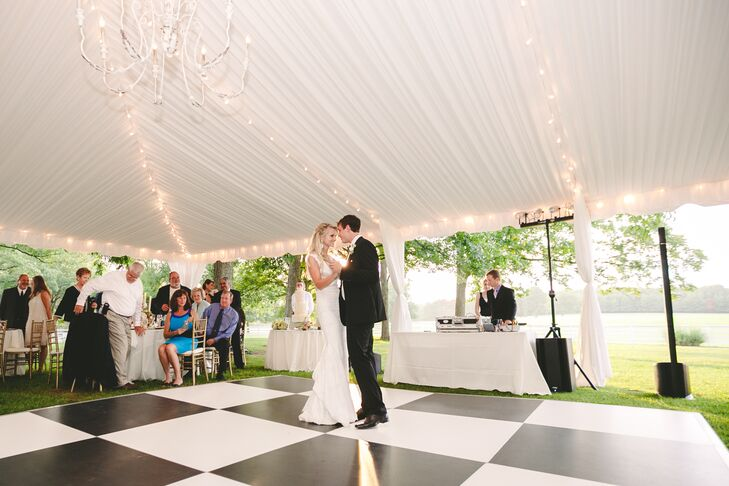 Tented Reception with Black and White Dance Floor