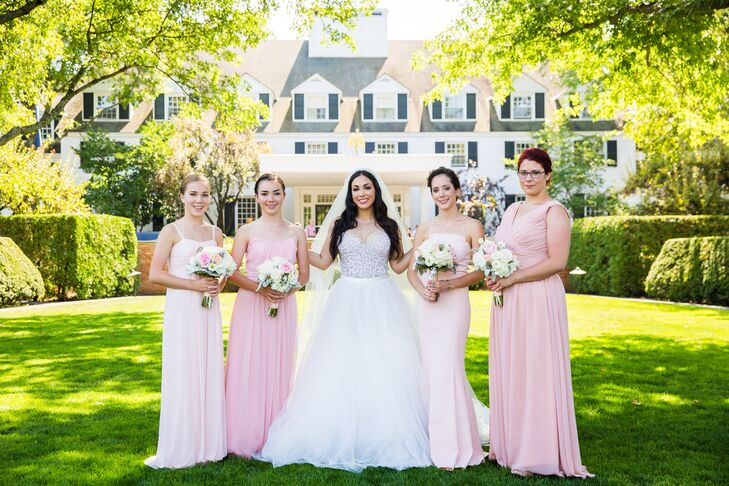 e5636b5d5157 Long Blush Chiffon Bridesmaid Dresses. Favorite. While the day was filled  with fun, space-themed touches, the couple went