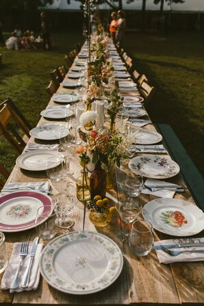 Farm Tables With Vintage Plates, Glasses