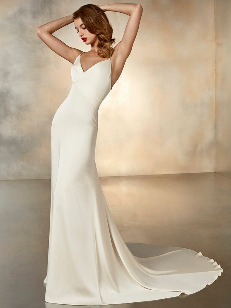 Atelier Provonias wedding dress v-neck sheath dress