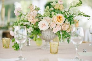 Textured Rose, Bells of Ireland Wedding Centerpieces
