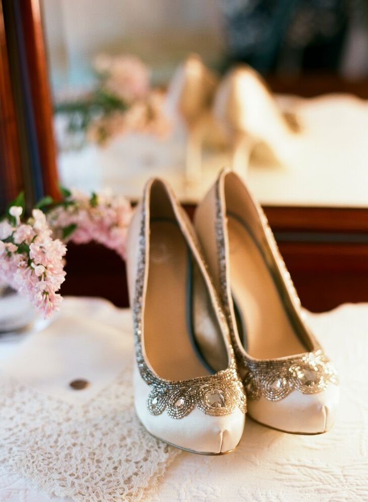Krissy found her gorgeous, embellished white pumps at DSW!