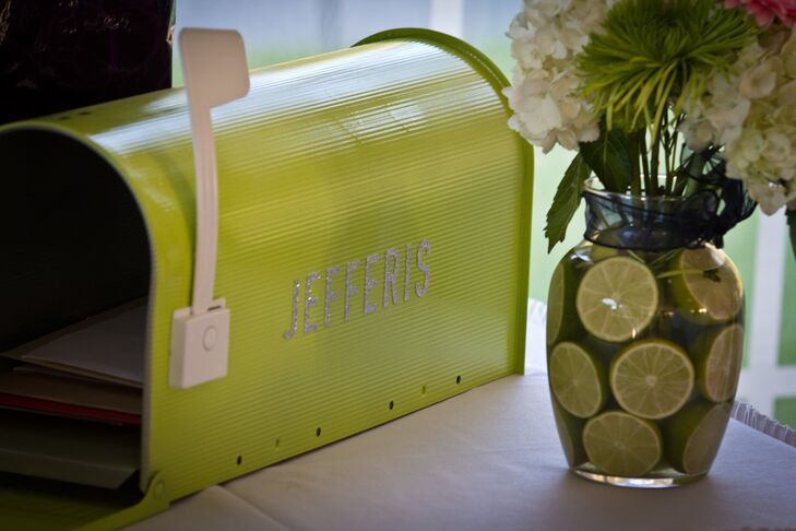 A green mailbox with the couple's surname on it was used for cards and gifts at the reception.