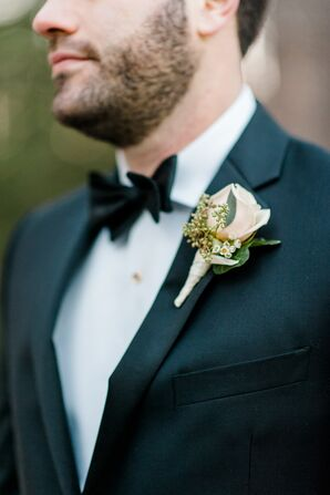Timeless Tuxedo with Blush Rose Boutonniere