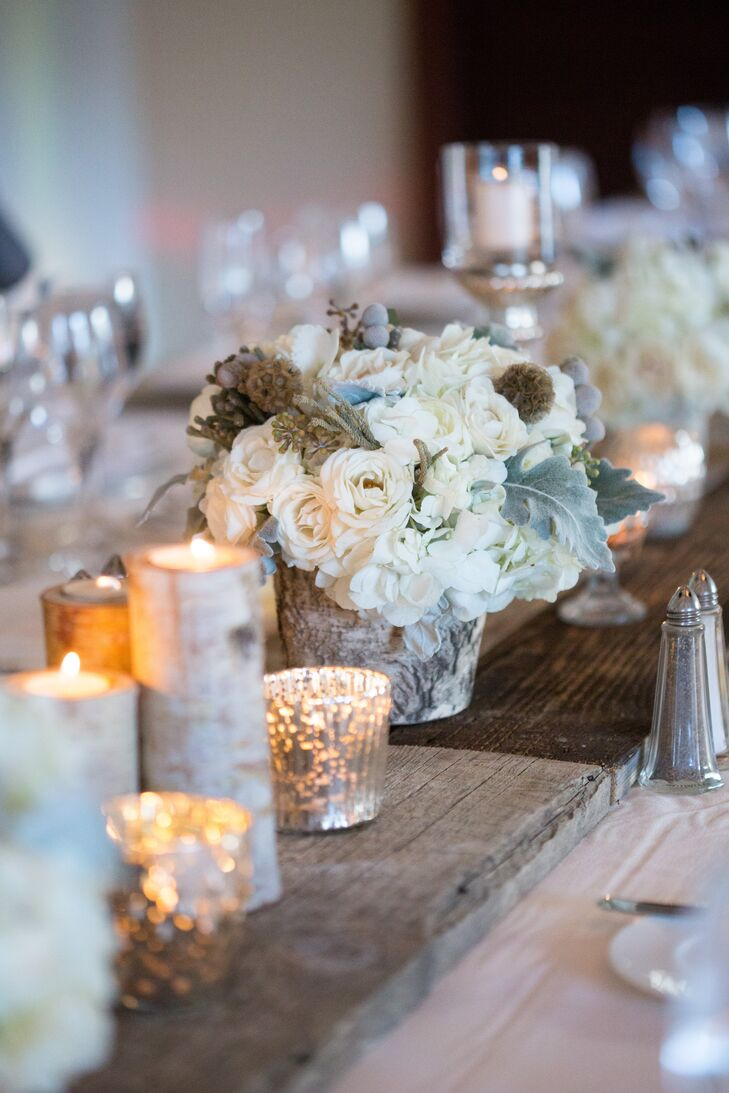 Rustic Wood and Candle Centerpieces