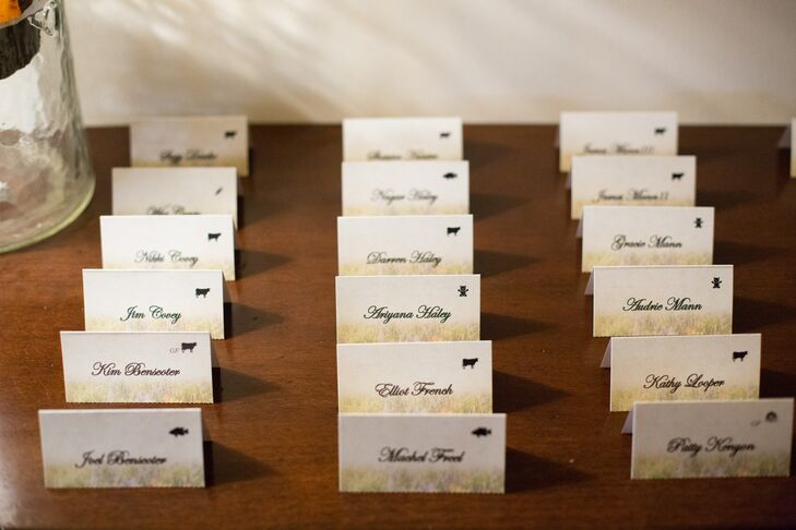 The escort cards had Colorado wildflowers printed in the background with animals naming the tables instead of traditional numbers.