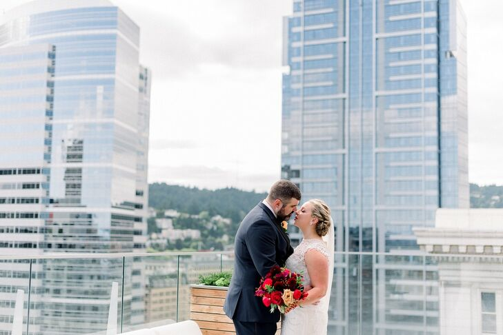 "Lacey and Bo Lockhart planned a Portland-based wedding with a ""wine country in the city"" theme. ""We wanted to highlight wine in a variety of ways, lik"