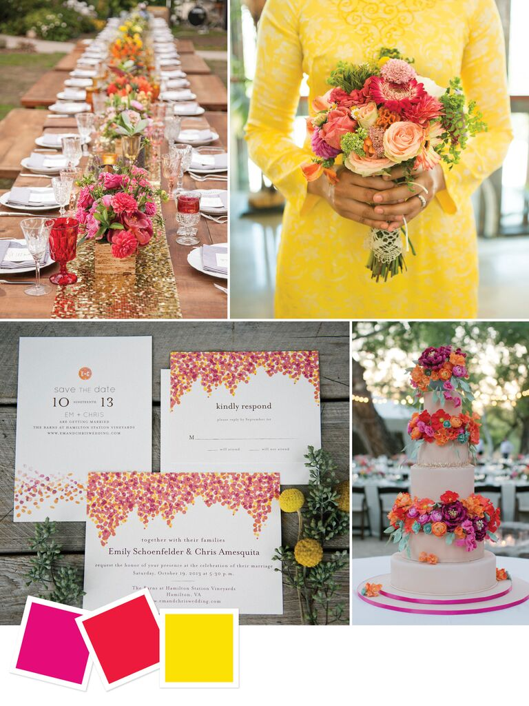15 wedding color combos youve never seen bright colorful outdoor wedding color palette junglespirit Image collections