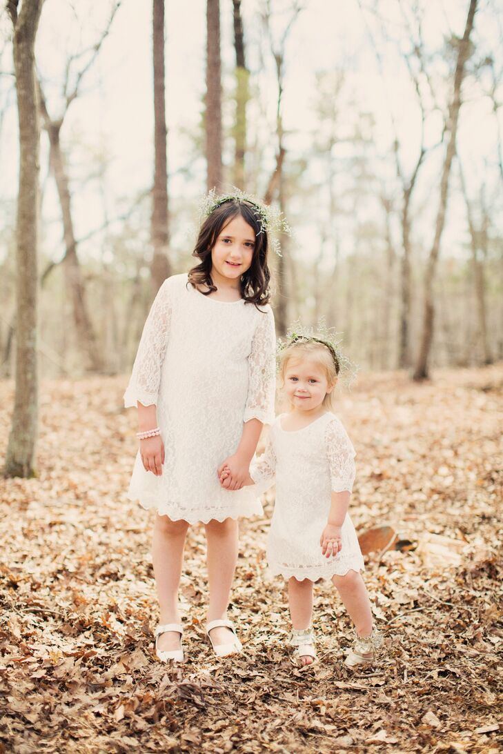 The flower girls wore lacy white dresses and baby's breath headbands.