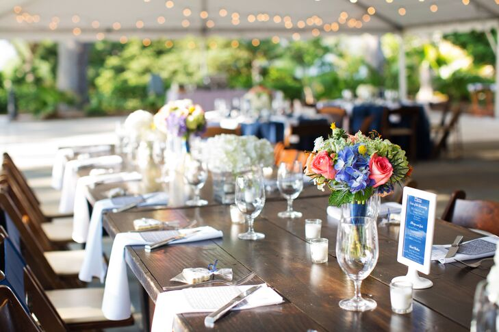 "Each table was assigned a number that held significance to the newlyweds. ""Instead of the typical 1 through 10, we had 9, the day in October that we met; 421, the number of miles between our hometowns; 101, our first apartment number; and 1,358, the number of days since we met,"" says Jessica."