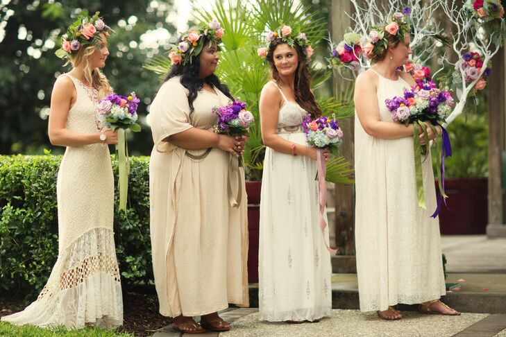 """Her bridesmaids fully captured the whimsical feel of their day with long, bohemian dresses and bold flower crown. Each woman picked out her own ivory, champagne or off-white gown and jewelry—with a little help from Annie. """"Honestly, I created a private Pinterest board for myself, the girls, Maria [the wedding planner] and the makeup artists,"""" she says. """"I pinned a whole bunch of dresses and hairstyles and makeup looks, then let the girls interpret it however they chose. I loved seeing each of their personalities shine through."""""""