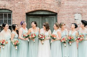 Bridesmaids with Dusty-Green Dresses, Updos and Colorful Bouquets
