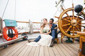 Bride and Groom Aboard 1877 Tall Ship Elissa