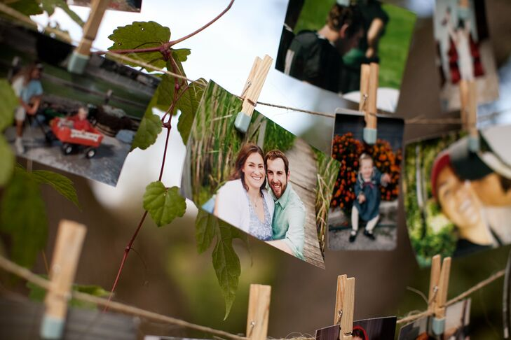 Photos of the couple, both together and from their childhoods, were pinned up at the reception for guests to enjoy.