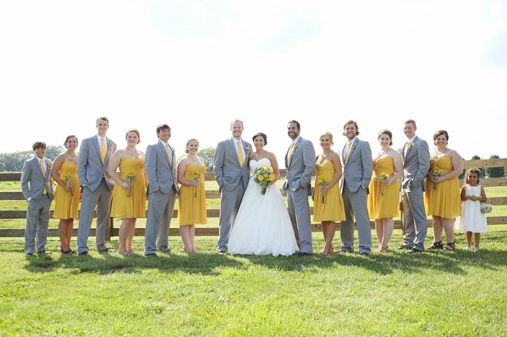 Canary Yellow And Gray Wedding Party Attire
