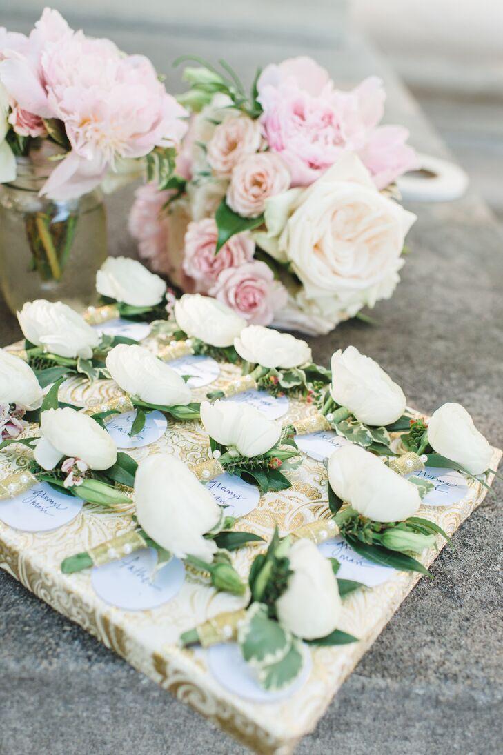 White Ranunculus Groomsmen Boutonnieres