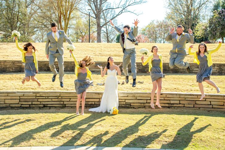 Julie and James had their bridesmaids and groomsmen sport casual yellow and gray attire. The girls wore gray cocktail dresses and yellow cardigans from J.Crew, while the guys donned classic gray suits.