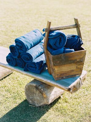 Navy Blankets for Outdoor Ceremony