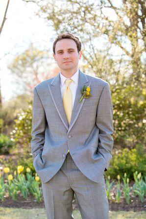 Elegant Gray Suit with Yellow Tie