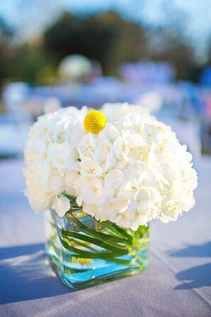 White Hydrangea and Billy Balls Centerpieces