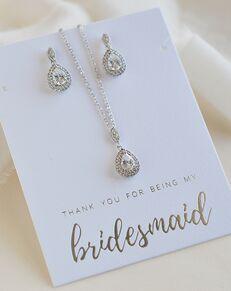 Dareth Colburn Rhea CZ Bridesmaid Jewelry Set (JS-1702-BR) Wedding Necklace photo