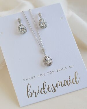 Dareth Colburn Rhea CZ Bridesmaid Jewelry Set (JS-1702-BR) Wedding Necklace photo
