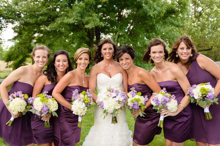Strapless, Plum Bridesmaids Dresses