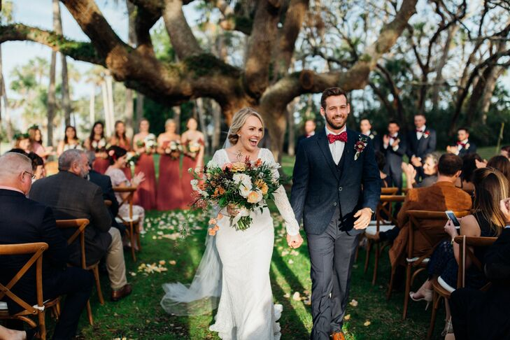 """He proposed to me while we were camping in South Carolina, so it was only natural to have our wedding outdoors,"" Sarah Pepple (26 and a first grade t"
