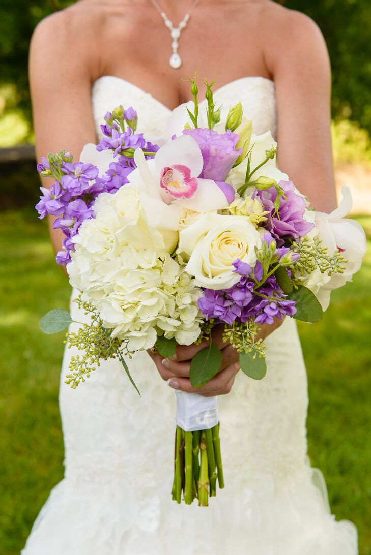 Purple and White Bridal Bouquet with Hydrangeas, Roses and Orchids