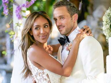 Bachelorette Tayshia Adams and Zac Clark on a one-on-one date involving weddings