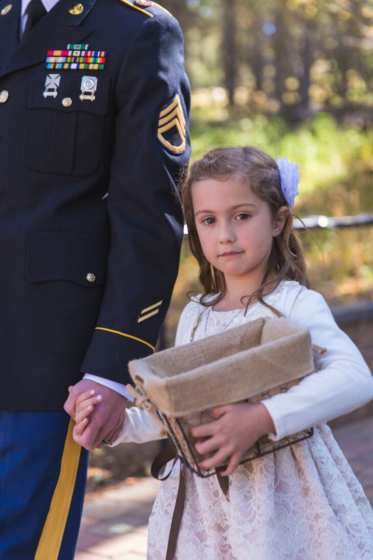 The flower girl carried a metal wire basket lined with burlap.