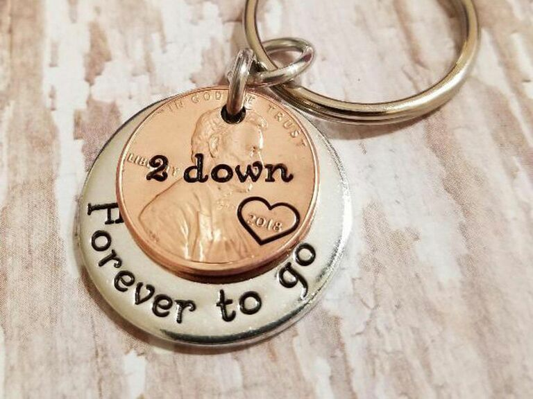 lucky penny key chain for second anniversary