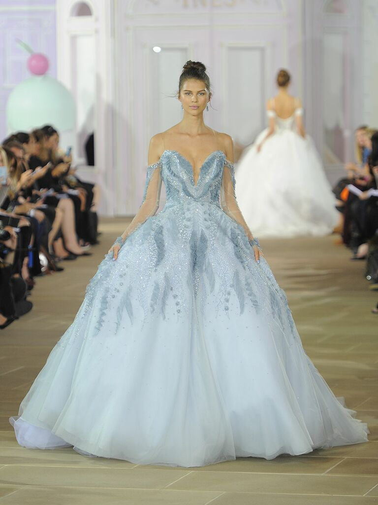 Ines Di Santo Fall/Winter 2017 baby blue fully beaded ball gown with detachable illusion long sleeve