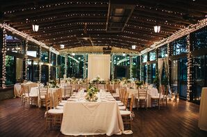 Boho Reception with Wood Accents and String Lights