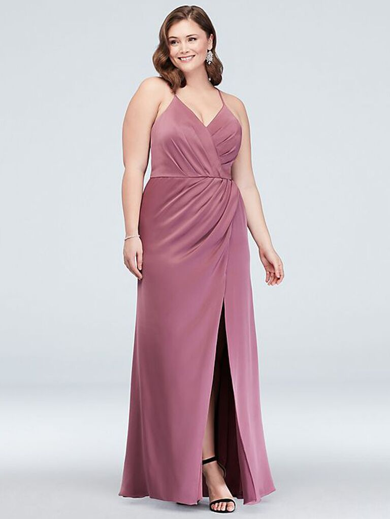 Pink wrap plus size bridesmaid dress