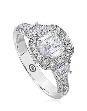 Christopher Designs Vintage Cushion Cut Engagement Ring