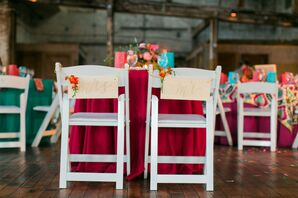 Calligraphed Bride and Groom Chair Signs