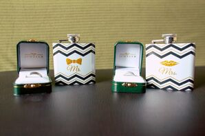 His and Hers Matching Flasks with Wedding Rings