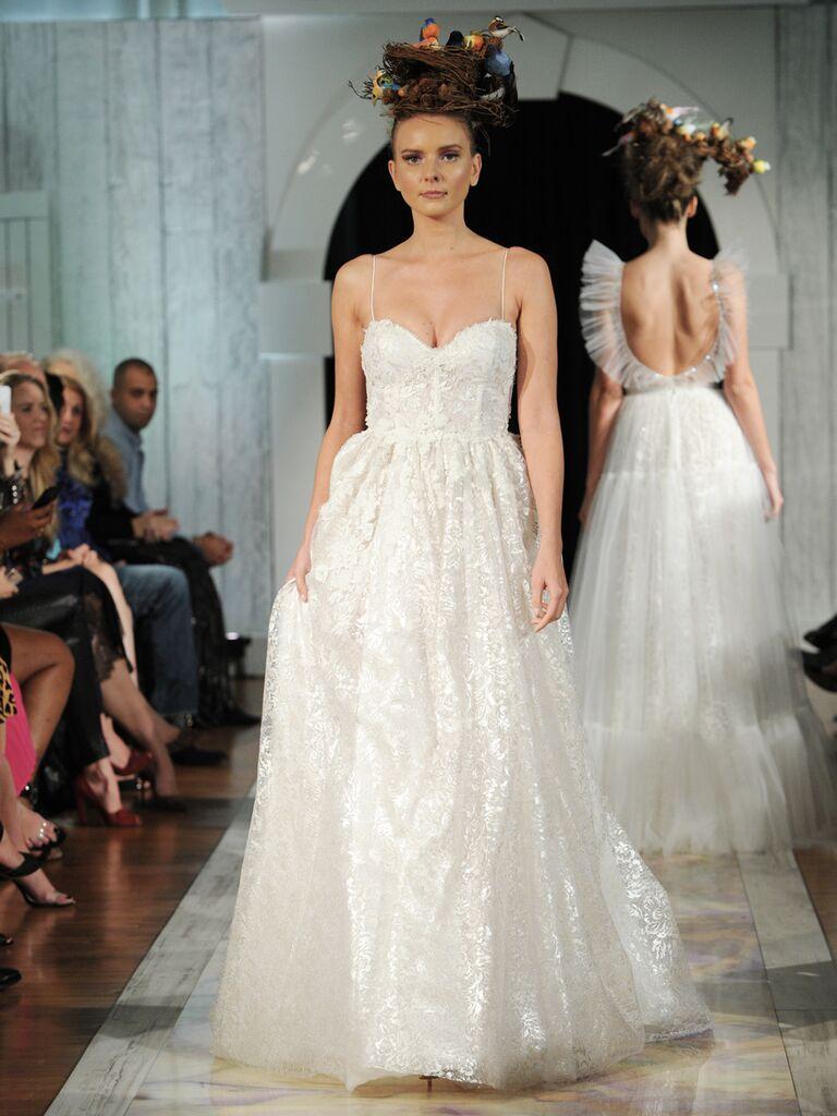Dany Mizrachi Fall 2019 spaghetti strap lace wedding dress