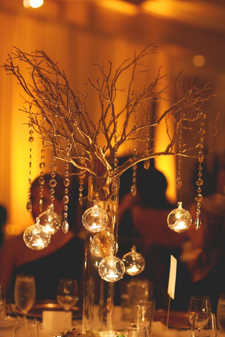 Magnificent Hanging Tea Light And Gold Branch Centerpieces Beutiful Home Inspiration Xortanetmahrainfo